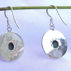 Boucle d'oreilles en argent 925 et rempli avec la pierre Turquoise du Tibet BDT09