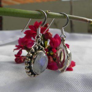 Boucles d'oreilles en argent 925 et pierre de lune Bo pdl3