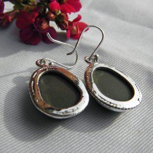 Boucles d'oreilles en argent 925 et obsidienne noire Bo o1