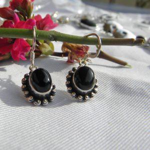 Boucles d'oreilles en argent 925 et obsidienne noire