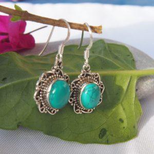 Boucles d'oreilles en argent 925 et turquoise Bo t2