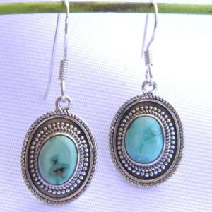 Earrings 925 Silver and filled with Tibetan Turquoise stone