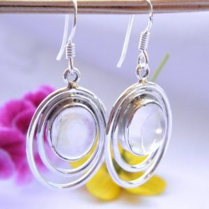 Boucles d'oreilles en argent 925 et pierre de lune Bo pdl1