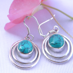 Boucles d'oreilles en argent 925 et turquoise