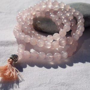 Mala en quartz rose